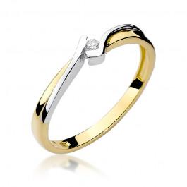 Minimalistyczny złoty pierścionek z brylantem