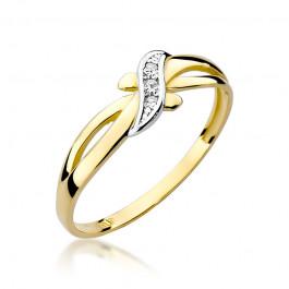 Urzekający złoty pierścionek z brylantami
