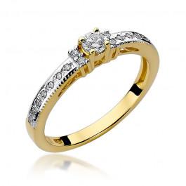 Wykwintny złoty pierścionek zaręczynowy z diamentami