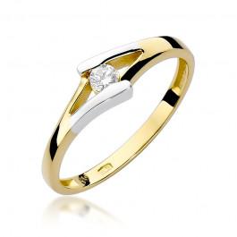 Nietypowy złoty pierścionek ozdobiony diamentem