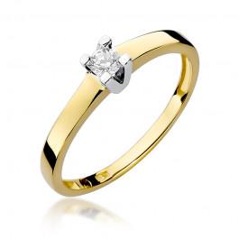 Stylowy złoty pierścionek zaręczynowy z brylantem