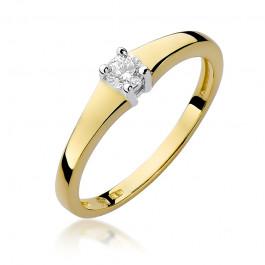 Lśniący złoty pierścionek zaręczynowy z brylantem