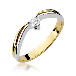 Oryginalny złoty pierścionek zaręczynowy z brylantem
