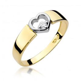 Uroczy złoty pierścionek z motywem serduszka i diamentem
