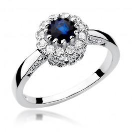 Oszałamiający złoty pierścionek zaręczynowy z szafirem i diamentami