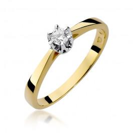 Urzekający złoty pierścionek zaręczynowy z diamentem