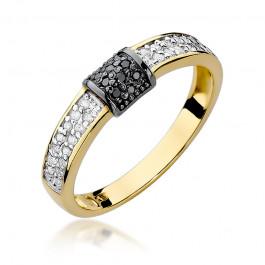 Niezwykły złoty pierścionek z białymi i czarnymi diamentami