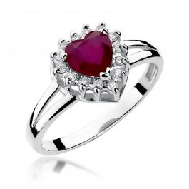 Uroczy złoty pierścionek w kształcie serca z rubinem i diamentami