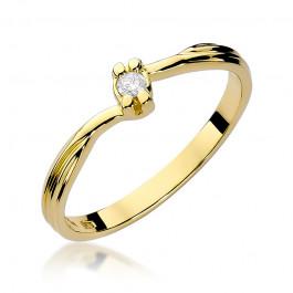 Subtelny złoty pierścionek zaręczynowy z brylantem