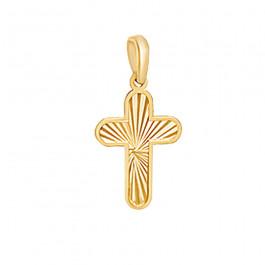 Złoty krzyżyk z gustownym diamentowaniem.