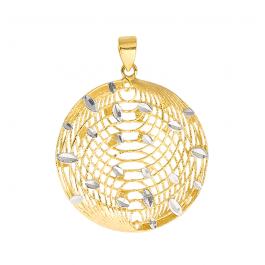 Złota zawieszka ażurowa trójwymiarowa okrągła z białym złotem