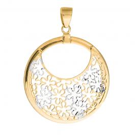 Złota zawieszka okrągła ażurowa z białym złotem