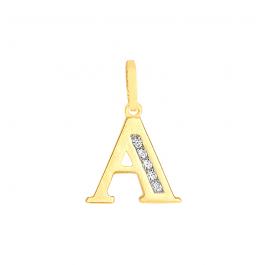 Złota zawieszka literka A z białymi cyrkoniami