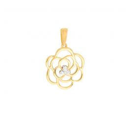 Złota zawieszka ażurowy kwiatuszek z cyrkoniami