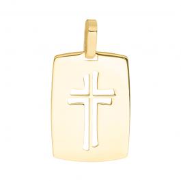 Złota zawieszka blaszka medalik z krzyżykiem