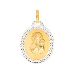 Złota zawieszka medalik ze zdobieniem z białego złota