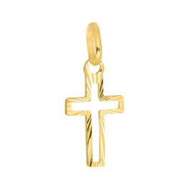 Złota zawieszka krzyżyk z diamentowaniami