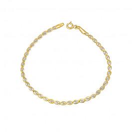 Złota bransoletka ażurowym splocie z białym złotem