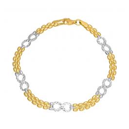 Złota bransoletka ze Znakiem Nieskończoności i białym złotem