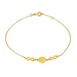 Złota bransoletka ze znakiem nieskończoności i blaszką