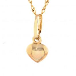 Złoty komplet łańcuszek z sercem
