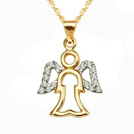 Uroczy złoty komplet zawieszka aniołek z łańcuszkiem