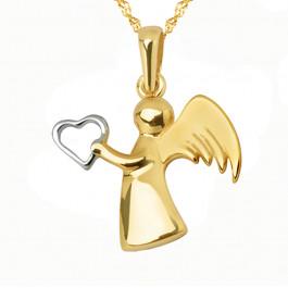 Złoty komplet anioł stróż z łańcuszkiem