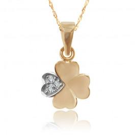 Śliczna złota zawieszka w kształcie koniczynki
