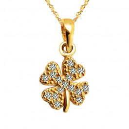 Złoty komplet łańcuszek z koniczynką