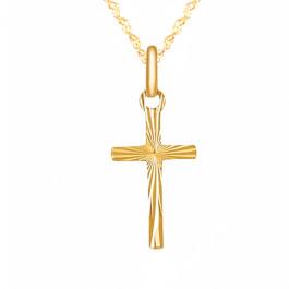 Złoty komplet krzyżyk łańcuszek 585 prezent z grawerem