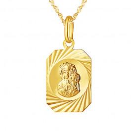 Złoty komplet piękny medalik z wizerunkiem Matki Boskiej i łańcuszkiem