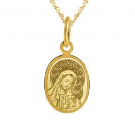 Złoty komplet medalik owal łańcuszek