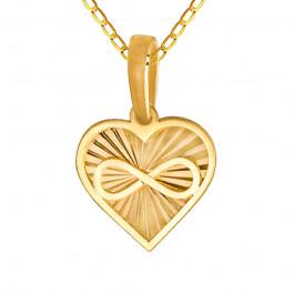 Złoty komplet diamentowane serduszko ze znakiem nieskończoności łańcuszek