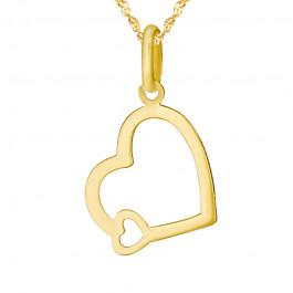 Zawieszka podwójne Serce łańcuszek złoty komplet