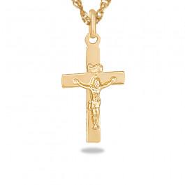 Złoty komplet klasyczny krzyżyk z łańcuszkiem