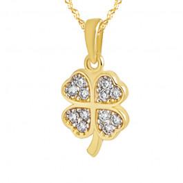 Niezwykły złoty komplet klasyczna koniczynka z łańcuszkiem Prezent Grawer GRATIS