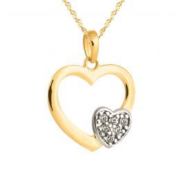 Złoty komplet zawieszka podwójne serce i łańcuszek