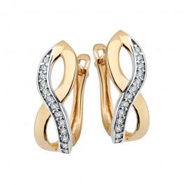 Eleganckie przeplatane złote kolczyki z cyrkoniami Grawer GRATIS