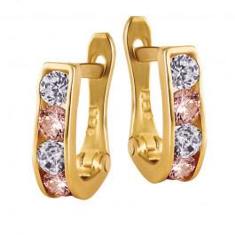 Urocze złote kolczyki z  różowymi cyrkoniami