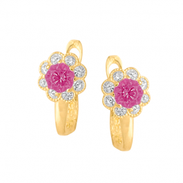 Złote kolczyki dziecięce kwiatuszki z różową cyrkonią