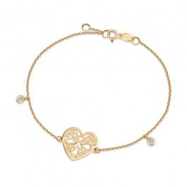Złota bransoletka serce z kryształkami