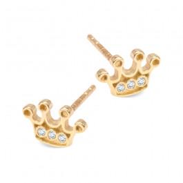 Urocze złote kolczyki korony Prezent Grawer GRATIS