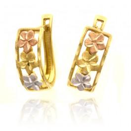 Wielobarwne złote kolczyki