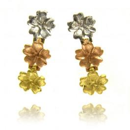 Złote kolczyki urocze kwiatuszki