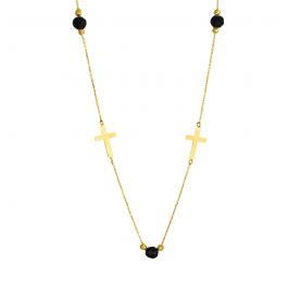 Złoty naszyjnik z krzyżykami i czarnymi cyrkoniami