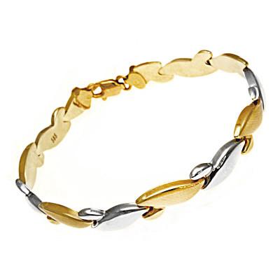 Dwukolorowa złota bransoletka
