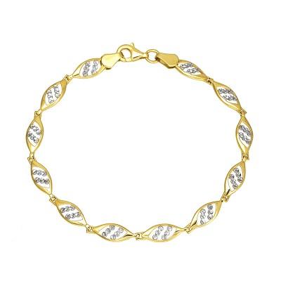 Niecodzienna złota bransoletka diamentowana białym złotem Prezent Grawer GRATIS