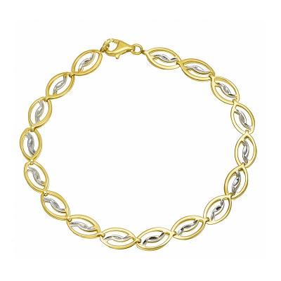 Niezwykle elegancka złota bransoletka subtelnie zdobiona białym złotem Prezent Grawer GRATIS