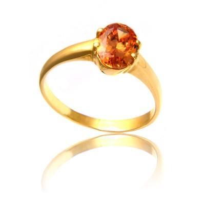 Złoty pierścionek z uroczą kolorową cyrkonią