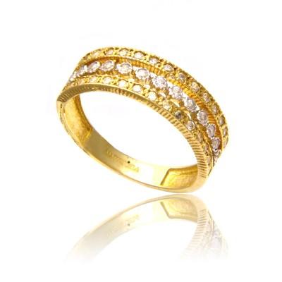 Szykowny, bogato zdobiony złoty pierścionek
